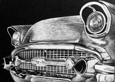 Scratchboard Cars | By far my favorite old car, the Bel Air has sexy curves and dynamic ...