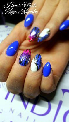 Gel Polish Adriatic + Biżu by Kinga Kryńska Indigo Young Team :) Follow us on Pinterest. Find more inspiration at www.indigo-nails.com #nailart #nails #blue #pink #gold #neon #white