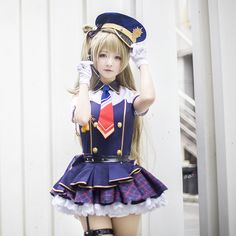 Lovelive / Love Live! School Idol Project Kotori Minami Cosplay Blue Dress Awakening Idolized Police Uniform Costume