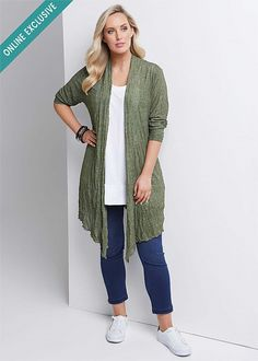 LUXE CRUSHED CARDI - Antique Moss