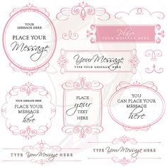 Calligraphy Swirls Wedding Clip Art Blush Pink by MayPLDigitalArt, $6.50 #calligraphy #wedding #swirlsclipart