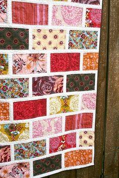 Brick pattern – great way to use up fabrics.