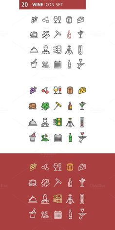 Wine Making Drink Icon Set. Vector. Icons. $5.00
