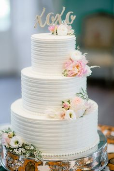 Katie & Blair's elegant wedding cake by PPHG Pastry Chef Jessica at The William Aiken House in Charleston, South Carolina | Photo by Brandon Lata
