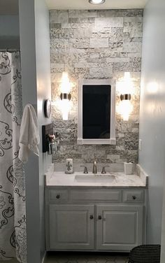 Add a spa look to any bathroom with a textured stone wall. #DIY #AirStone #Lowes