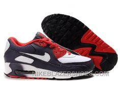 2d8b48893613 Nike Air Max 90 Womens Deepblue Red White Lastest 7HZ66