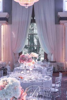 Glamorous ballroom white and pink wedding reception with glass decor; Via Rachel A. Clingen Wedding & Event Design