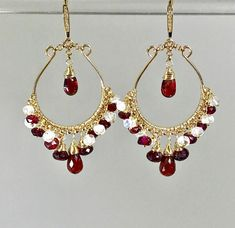 Red Garnet Gold Hoop Earrings Rainbow Moonstone by Doolittle Jewelry We have unique handmade earrings special occasion wedding and CUSTOM jewelry. Become a VIP Insider and receive special deals only available to VIPS! Join here: doolittlejewelry/. Beaded Tassel Earrings, Gold Hoop Earrings, Crystal Earrings, Crystal Jewelry, Earrings Handmade, Women's Earrings, Statement Earrings, Circle Earrings, Gold Hoops