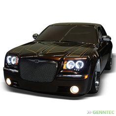 For CCFL Halo 2005-2010 Chrysler 300C LED Projector Headlights Blk Head Lights