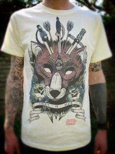 Mens TShirt Fox Tattoo Flash SALE   S/L/XL by wengergirl on Etsy, $25.00