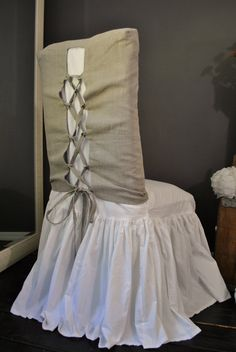 Corset back slip cover. Parsons chair. perfect for vanity in bathroom!