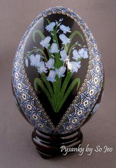 Made To Order Bluebells Pysanka Batik Ukrainian Style Easter Egg Art EBSQ Plus