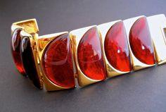 NAPIER Huge Lucite Tortoise Bracelet Gold Tone by RenaissanceFair