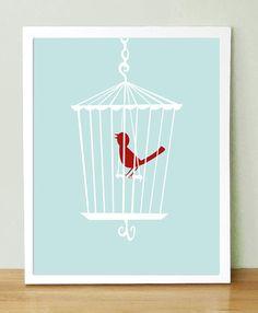 Bird Cage art print for half bath