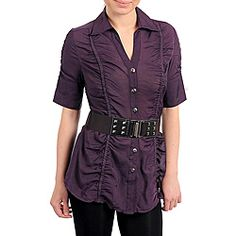 This fashionable plum-colored top from Stanzino features a lovely ruche detailing and belted waist. Short sleeves and a collared V-neck finish this button front top.
