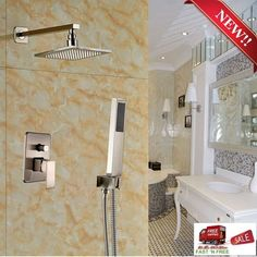 Rain Shower Set Rainfall Head Square Arm Curve Tube Flange ...
