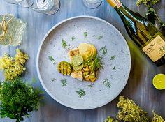 Grillad torskrygg med tryfflad palsternackspuré, fruktsalsa och örtsmör - Landleys Kök