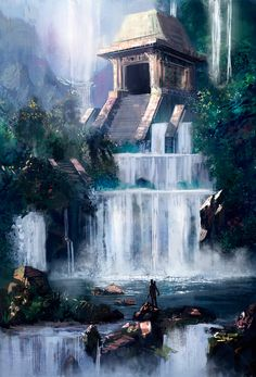 Waterfall temple