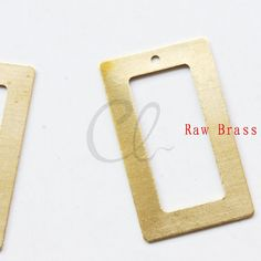 10pcs Raw Brass Rectangle Charm  Pendant  32.5x18.5mm by clbeads