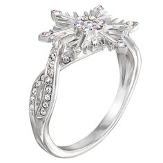 Frozen 2 Crystal Snowflake Ring by RockLove - Official shopDisney® Snowflake Ring, Snowflake Jewelry, Frozen Snowflake, Crystal Snowflakes, Disney Baby Clothes, Gems Jewelry, Band Rings, Jewelry Collection, Jewelry Design