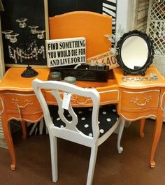 really orange french provincial vanity    The White Barn August 2012  in the Feathered Nest Market OKC  (see us on facebook)