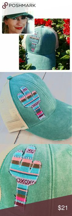 568425bac4daa2 Boho Distressed Womens Trucker Hat Serape Cactus Hand sewn Serape cactus  trucker hat by Sweet Texas