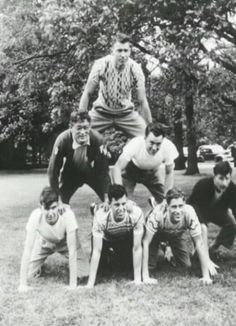 James Dean (middle left) with some college friends forming a pyramid.