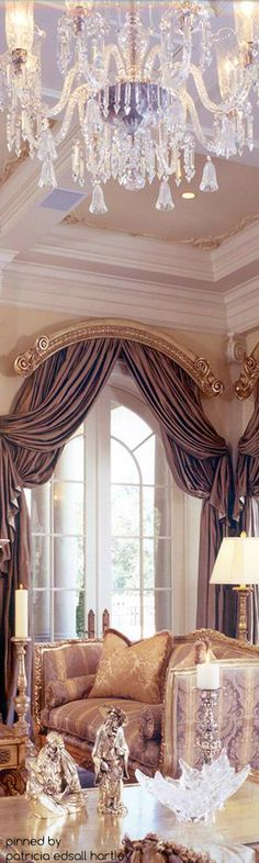 Chandelier Mediterranean/Tuscan/Old World Decor Arched Window Treatments, Arched Windows, Window Coverings, Dream House Interior, Luxury Interior, Beautiful Interiors, Beautiful Homes, World Decor, Tuscan Design