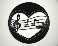 Love Music Vinyl Record Art Wall Hanging Old Vinyl Records - New Unique Art - NZ Made