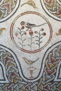 Mosaic Tile Floor with Birds   Content in a Cottage