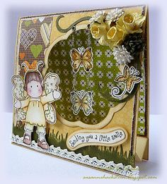 Tutorial; Tent Card.  What a cute idea, using chains to hang the butterflies on your card!