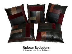 Upcycled Leather Patchwork Pillows - handmade by Uptown Redesigns in New Orleans