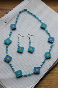 Blue Perler Bead Flower Necklace and Earrings by SweetPickledPeaches