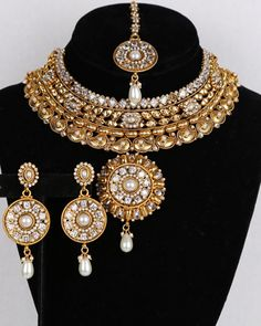 Bridal and Wedding Party Jewelry 164310: Bollywood Style Wedding Ethnic Bridal Necklace Gold Plated White Cz Polki Stones BUY IT NOW ONLY: $49.99