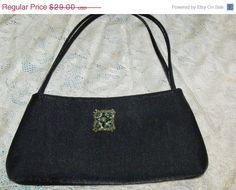 Upcycled Black Evening Purse Green Rhinestone by YoursOccasionally, $23.20