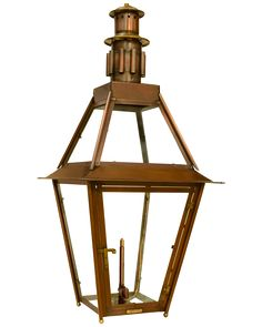 """Designed by the legendary historic preservationists and architectural firm of """"KOCH and WILSON"""", these beautifully detailed lanterns were commissioned and built by Andrew Bevolo, Sr. and the skillful coppersmiths at BEVOLO METAL CRAFTS. These timeless and incredibly durably copper lanterns remain in service today, gracing the many National Historic Registered properties in the French Quarter. The Rosetta Standard Light is available in natural gas, liquid propane and electric. Outside Lanterns, Copper Lantern, Gas And Electric, Metal Crafts, Ceiling Lights, The Originals, Lighting, Architectural Firm, French Quarter"""