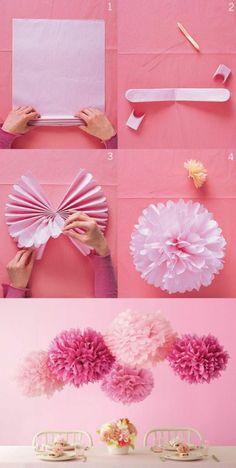 große rosa hängende blumen basteln, tisch, tischdeko, frühlingsdeko
