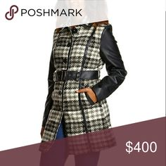 COMING SOON!!! Faux leather houndstooth coat Black and white faux fur houndstooth belted coat.  M is 33in. Long from shoulder to hem  90% polyester 10% wool... lining is 100% polyester Chupchick  Jackets & Coats Pea Coats
