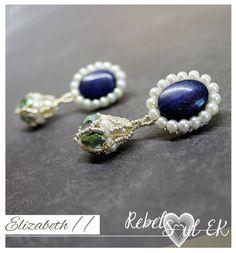 Blue lapis lazuli earrings, blue stone drop earrings, gemstone beaded blue earrings, white pearl embroidery earrings, elizabeth earrings by RebelSoulEK on Etsy