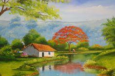 Echo de menos mi esquina Simple Canvas Paintings, Nature Paintings, Beautiful Paintings, Canvas Art, Watercolor Landscape, Landscape Art, Landscape Paintings, Watercolor Paintings, Building Painting
