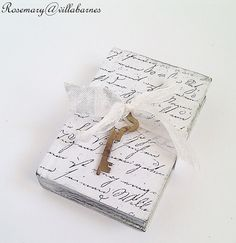 French Script Covered Carved Mini Wooden Book by villabarnes