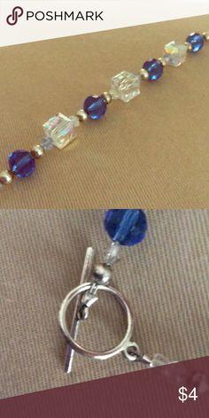"""Bracelet 7.5"""" long . Blue & clear stones. Silver hardware. Jewelry Bracelets"""