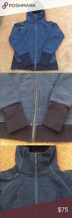 Lululemon Blue Hooded Warm Yoga Zip Up Jacket Gorgeous two tone blue Lululemon zip up jacket. Nice thick material with a warm oversized hood. Sleeves have thumb holes for added comfort and style. Size 6 in mint condition lululemon athletica Jackets & Coats Utility Jackets