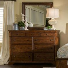 Trisha Yearwood Dresser and Mirror in Coffee | Nebraska Furniture Mart