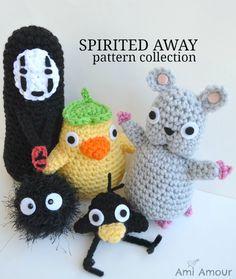 Spirited Away crochet pattern set Mouse Soot Sprite No Face Duck Spirit. $10.00, via Etsy.