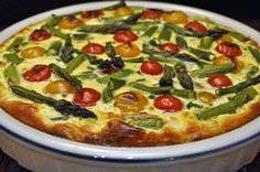Asparagus, tomato and Feta Quiche: You can add mushrooms for fuller flavor