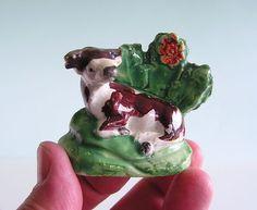 Rare Staffordshire Miniature Pearlware ~ SALT RECUMBENT COW w BOCAGE ~  c1820