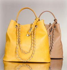 f39770e14c3a9 Borsa Tote in pelle in color giallo e nocciola