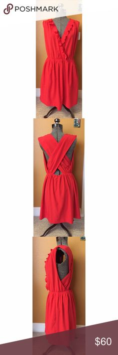 ☀️NWT Rachel Roy Orange Bon Voyage Dress Sz 4🌟 NWT. Rachel Roy Bon Voyage dress in lovely orange color and open back detail. Elastic waist and hidden back zip closure. Has pockets. Amazing party dress! Sz 4 RACHEL Rachel Roy Dresses