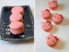 i heart baking!: rhubarb hello kitty macarons